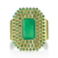 Irene Neuwirth | Jewelry  Three rows of pavé diamonds, electric green chrysoprase stones, 18K yellow-gold