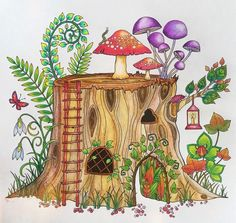 Enchanted Forest Tronco Floresta Encantada Johanna Basford Coloring BookJohanna