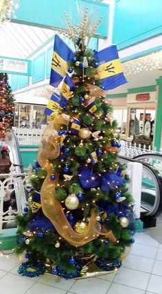 Barbados Christmas Tree Christmas Decorations, Christmas Tree, Holiday Decor, Caribbean Flags, Goal Board, Flag Decor, Beautiful Islands, Barbados, Take Care Of Yourself