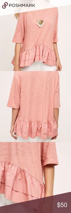 Anthropologie Cascade Peplum Top Sz. M Worn once. Perfect condition. A pink version of the cascade Peplum from Anthropologie. Sold out & hard to find. Please ask any questions. Size M. Anthropologie Tops