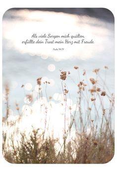 """Postkarte - Trost, Bibelvers auf der Karte: """"Als viele Sorgen mich quälten, erfüllte dein Trost mein Herz mit Freude."""" - Psalm 94,19"""