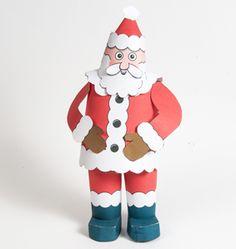 FREE DIY PDF printable print and cut 3D Santa