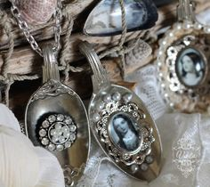 necklace pendants made from vintage silver spoons