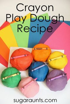 DIY crayon play dough recipe for kids.  So fun!