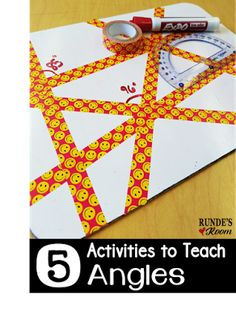 5 Activities for Teaching Angles. Hands-on activities to teach angles. Geometry Lessons, Teaching Geometry, Geometry Activities, Math Lessons, Teaching Math, Math Activities, Geometry Games, Geometry Art, Math Games