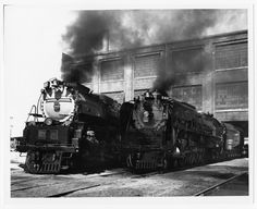 A photo of Union Pacific's steam locomotives, Challenger No. 3985 and Northern type No. 844, taken outside the Cheyenne, Wyoming shops on July 20, 1996.