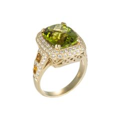 Color Story 14K Yellow Gold Ring with Diamonds (1.1 ct) & Peridot (5.1 ct) featured in vente-privee.com