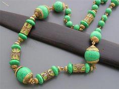 Vintage Art Deco Czech Enamel Peking Glass Beaded Necklace   eBay