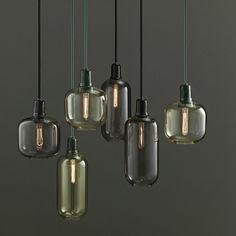Normann Copenhagen – Amp Lampe – Gold/Grün – S Glass Pendant Light, Glass Pendants, Pendant Lighting, Pendant Lamps, Glass Lamps, Industrial Lighting, Industrial Stairs, Industrial Closet, Industrial Cafe