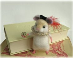 Felted Hamlet Hamster Shakespeare Needle Felting Animal Model Art Doll Shakespearean Figure Made to Order