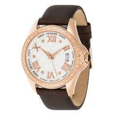 """""""Coloseo"""" Watch Leather Strap, Diamonds 0.34 Ct"""