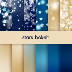 stars bokeh, blue and gold digital paper