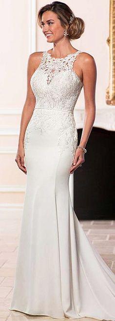 Romantic Tulle & Acetate Satin Jewel Neckline Natural Waistline Mermaid Wedding Dress With Lace Appliques & Beading