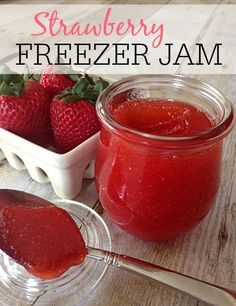 Strawberry Freezer Jam _ It is bursting with flavor and amazing on just about anything! The best part about this strawberry freezer jam is that you don't need all the canning equipment. You can make it with just a few freezer safe containers!