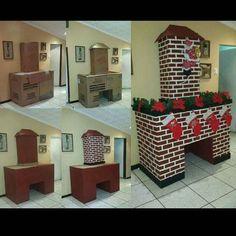 E quem disse que vocês não podem fazer uma lareira para esperar o Papai Noel? Caixas de papelão, tinta, ...