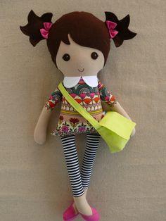 Fabric Doll Rag Doll Brown Haired Boy in Orange and por rovingovine