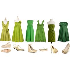 Mismatched bridesmaid dresses with nude color pumps- but like the greens for the guys