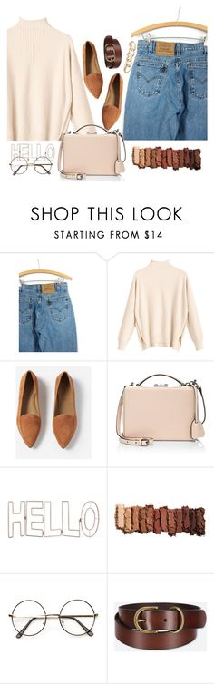 """""""mocha"""" by ittanmomen ❤ liked on Polyvore featuring Levi's, Everlane, Mark Cross, Graham & Brown, Urban Decay, Uniqlo and GUESS"""