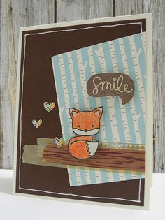 Sweet fox! I love the birch paper and colours.