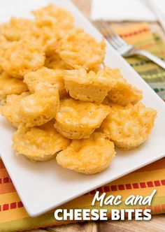 Mac and Cheese Bites: Who doesn't love Mac n Cheese?! These bites are perfect for enjoying the comfort food on the go such as your next tailgating party! Make extras because they will disappear fast. #GameDay