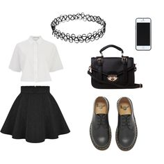 Школьный вариант by alisa-mironova on Polyvore featuring мода, T By Alexander Wang, Dr. Martens and Kate Spade Saturday