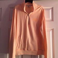 Victoria's Secret PINK Half Zip This half zip sweater is a very pretty light orange! Almost new- gently loved! PINK Victoria's Secret Tops Sweatshirts & Hoodies