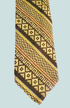 Polo by Ralph Lauren for Town & Campus of Chapel Hill, NC. Yellow & Brown Stretch knit! silk tie. 1970s. My collection.