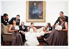 Fun indoor group pose Hannah McClune Photography {Taplow House Hotel, Buckinghamshire wedding photographer}
