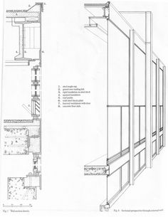 wall section - S.R. Crown Hall, Illinois Institute of Technology (IIT) Chicago (1950-56) | Mies van der Rohe