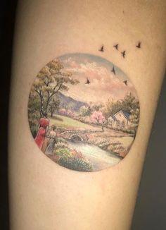 Small Circular Landscape tattoo by Eva Krbdk at Bang Bang Tattoo, NYC
