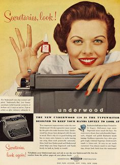 Secretaries, Look!  1950s Underwood typewriter advertisement
