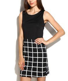 This Ecru & Black Checkerboard Sheath Dress is perfect! #zulilyfinds
