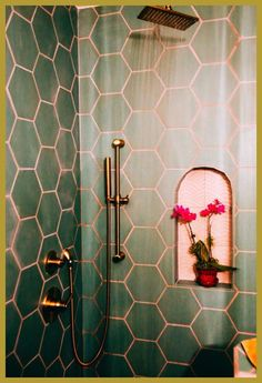 This is an updated bathroom with the pink & green and gold fixtures. There is pink grout in the bathroom. Bathroom Interior Design, Decor Interior Design, Interior Decorating, Modern Interior, Decorating Ideas, Restroom Design, Restroom Decoration, Boat Interior, Cafe Interior