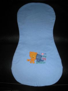 """I Love My Big Brother-Tigers Burp Cloths are Handmade, Machine Embroidered on both sides, Hourglass Shaped double sided (perfect for over the shoulder) and are made with Flannel and measure approximately 19 3/4"""" long x 9"""" wide (sizes may vary slightly since they are handmade) They are available in variety of Family Embroidered designs. So Please look at my additional listings. They make great Baby Shower Gifts and are perfect for Diaper Cakes and Diaper Wreaths along with my Extra Large…"""