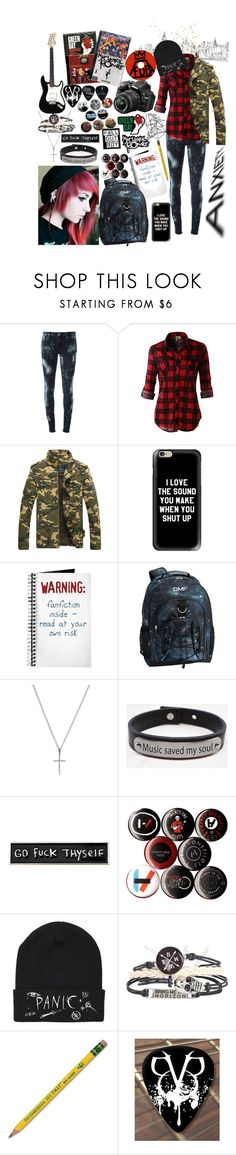 """""""Axel Adems"""" by yourfriendlyneighborhoodemo ❤ liked on Polyvore featuring Denim & Supply by Ralph Lauren, LE3NO, Casetify, PBteen, Bony Levy, Pink Box, RIPNDIP, Hot Topic, Dixon Ticonderoga and Nikon"""