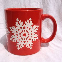 Waechtersbach Red Christmas Holiday White Snowflake Coffee Mug Made in Germany | eBay