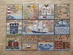 The Shores of Hawk Run Hollow finished. Cross Stitch Samplers, Cross Stitch Charts, Cross Stitch Designs, Cross Stitching, Cross Stitch Embroidery, Stitch Patterns, Everything Cross Stitch, House Quilts, Charts And Graphs