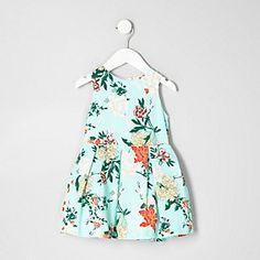 Mini girls light green floral prom dress