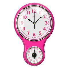 Wall Clock, Timer, Hot Pink Plastic