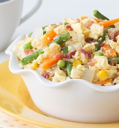 Fried rice… for breakfast? YES! This healthy Breakfast Cauliflower Fried Rice has everything your morning needs – like bacon & eggs! Don't worry, you can eat this dish any time of day. Just 245 calories & 5.5g fat! Get the recipe… from Hungry Girl!