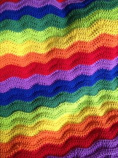 My rainbow crochet blanket made with a thick cotton yarn.