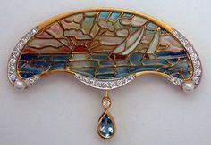 Current Masriera Enameled Gold Pendant/Brooch - after an original  design by Lluis Masriera (1872 - 1958)