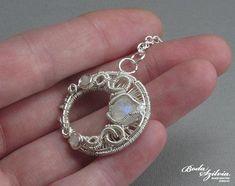 moon pendant 'Selene' - silver moonstone necklace, elegant wedding jewelry, moonstone pendant, wire wrapped moon jewelry, bridal jewelry