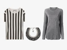 Step 8 - Two tops and a necklace.  black and white striped tee, black grey silver necklace, and grey tee shirt