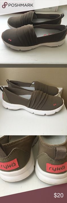 RYKA Slip-On Fashion Sneakers Taupe/White/Pink Slip-On Fashion Sneakers Taupe/White/Pink, Worn Once, Super Comfy, Stretchy Upper Fabric, Well Cushioned Soles. Dark Brown or Taupe, White Bottoms, Pink logo. Size 5. Downsizing Wardrobe! Ryka Shoes Sneakers