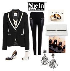 """""""Shein Black zipup pant,paired with Tuxedo top/blazer,choice of black or white shoe and o accessories"""" by im-karla-with-a-k on Polyvore featuring Lust For Life, Diane Von Furstenberg and Jose & Maria Barrera"""