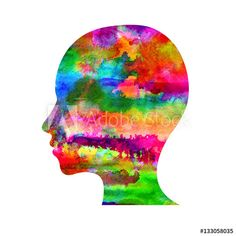 Modern Watercolor head logo of Psychology. Profile Human. Creative style. Logotype in . Design concept. Brand company. Rainbow bright color isolated on white background. Symbol for web, print, card. Teen Projects, Fashion Maker, Clinic Design, Science Art, Modern Logo, Drawing People, Artist Art, Designs To Draw, Royalty Free Images