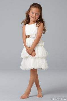 Fantastic Sheath Scoop Knee-length Tiered Sash Flower Girl Dress: Dressbraw.com