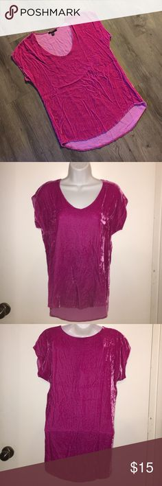 Pink Crushed Velvet Top Adorable short sleeve top, fits long and oversized. Shown in the fourth pic as a way to style it, jacket also for sale in my closet! In excellent condition! DREW Tops Blouses