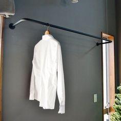 【ノーブランド品】アイアン製の物干しパイプ 壁付け 天井吊 洗濯 物干し バー 幅910mmタイプ ブラック